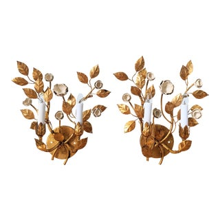 20th Century Italian Gold Gilt With Porcelain Flowers Electric Wall Sconces - a Pair For Sale