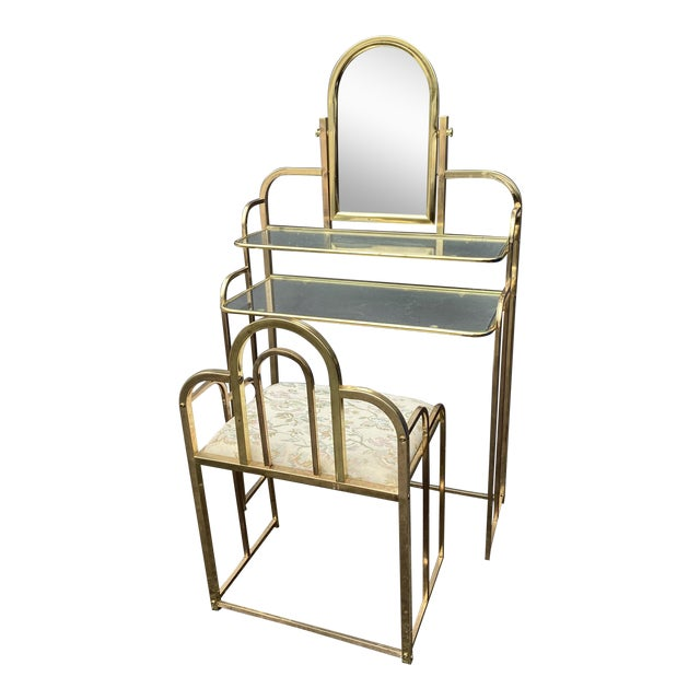 Mid Century Brass Vanity Table and Chair For Sale