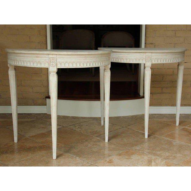 Gustavian (Swedish) 19th Century Pair of Swedish Gustavian Bedside Demilune Console Tables For Sale - Image 3 of 9