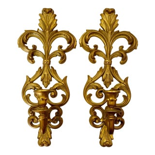 Vintage BurWood French Rococo Fleur De Lis Gold Candle Wall Sconces - a Pair For Sale