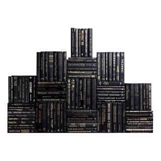 Modern Luxe Book Wall : Set of One Hundred Decorative Books in Black With Gold Accents For Sale
