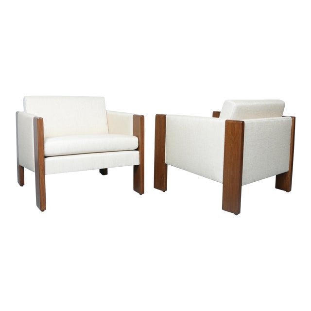 Walnut pair of Cubed Lounge Chairs - Image 1 of 10