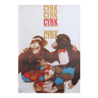 1979 Polish Cyrk Circus Poster, Two Monkeys