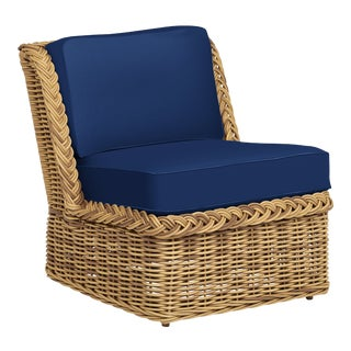Wicker Works Armless Squareback Lounge Chair in Pacific Blue For Sale