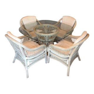 1970's Vintage Bamboo & Rattan Whitewash Dining Set For Sale