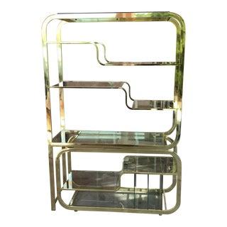 Milo Baughman Style Brass Shelf