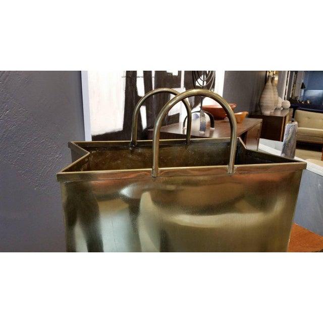 1970s Spain Sarreid, Ltd. Glam Brushed Brass Shopping Bag Umbrella Stand - Image 3 of 7
