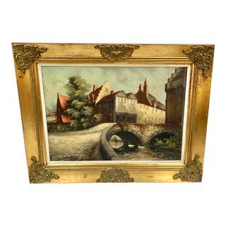 1940s Vintage Framed Belgian Oil Painting For Sale