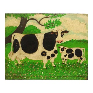 1940s Vintage Cow Folk Art Painting For Sale