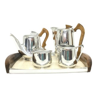 Mid-Century Modern Picquot Ware Tea Set - Set of 5 For Sale