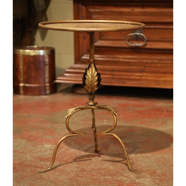 Early 20th Century French Gilt Painted Iron Pedestal Martini Side Table For Sale - Image 4 of 9