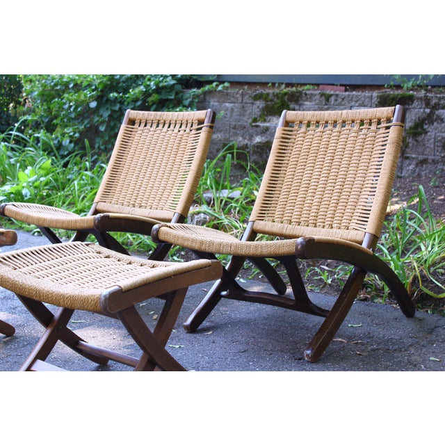 Danish Modern Hans Wegner Style Rope Chairs & Stools - A Pair For Sale - Image 3 of 11