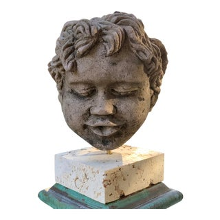 Early 20th Century Carved Sand Stone Cherub Head For Sale