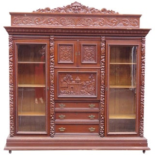 Monumental Renaissance Style Double Sided Bookcase Abbatant Desk