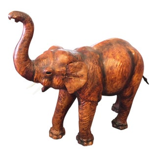 1950s Boho Chic Tan and Ivory Leather Elephant Statue