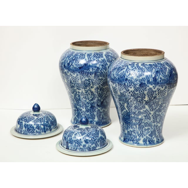 Chinese Blue and White Jars with Lids - A Pair For Sale In New York - Image 6 of 13