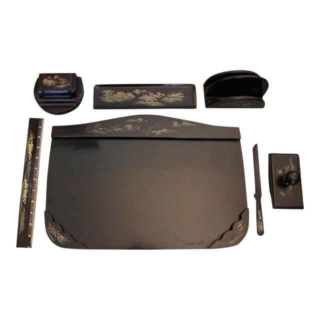 Japanese Black Lacquer Desk Set - Set of 7 - Image 1 of 3