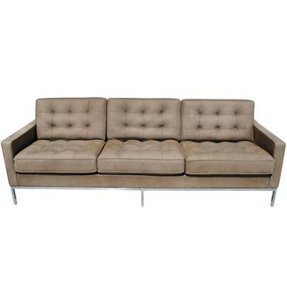 Florence Knoll Brown Leather Sofa For Sale