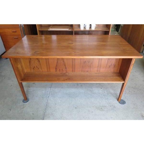 1960s 1960s Danish Modern Teak Desk With Bookshelf Back For Sale - Image 5 of 6