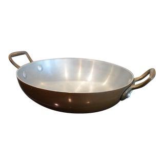 Vintage 1940s Copper Saute Pan For Sale
