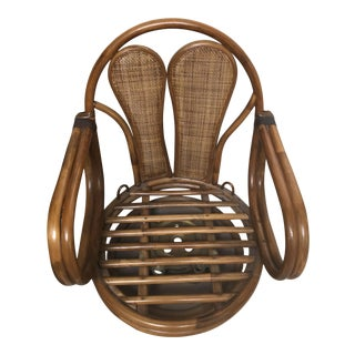 1970s Boho Chic Bamboo Rocking Swivel Pretzel Barrel Chair