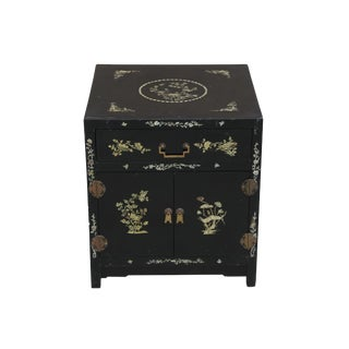 Vintage Black Lacquer Chinoiserie Side Table