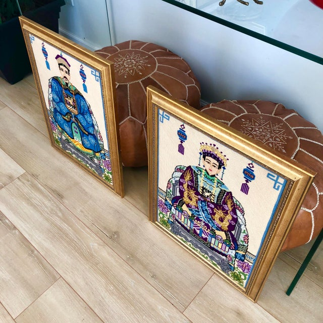 Vintage Chinoiserie Chinese Ancestor Portraits Framed Needlepoints - a Pair For Sale In Los Angeles - Image 6 of 8
