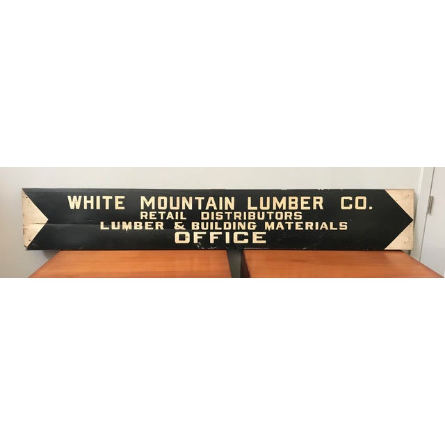Large vintage wood hand painted lumber yard sign with great graphic black and white design.