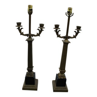 1940s Neoclassic Pillared Column Lamps - a Pair For Sale
