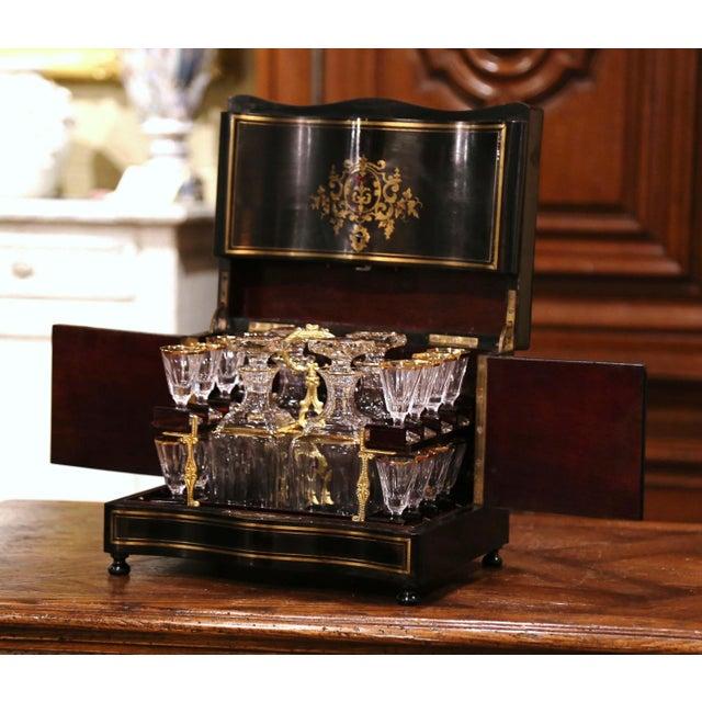 Mid 19th Century 19th Century French Napoleon III Mahogany and Bronze Inlaid Liquor Box For Sale - Image 5 of 13
