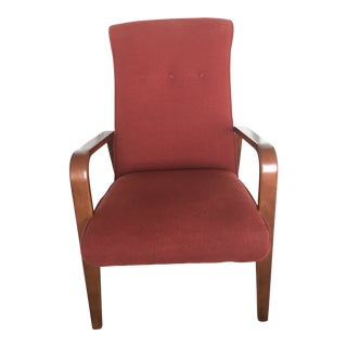 Thonet Mid-Century Modern Burgundy Wool Upholstered High-Backed Lounge Chair For Sale