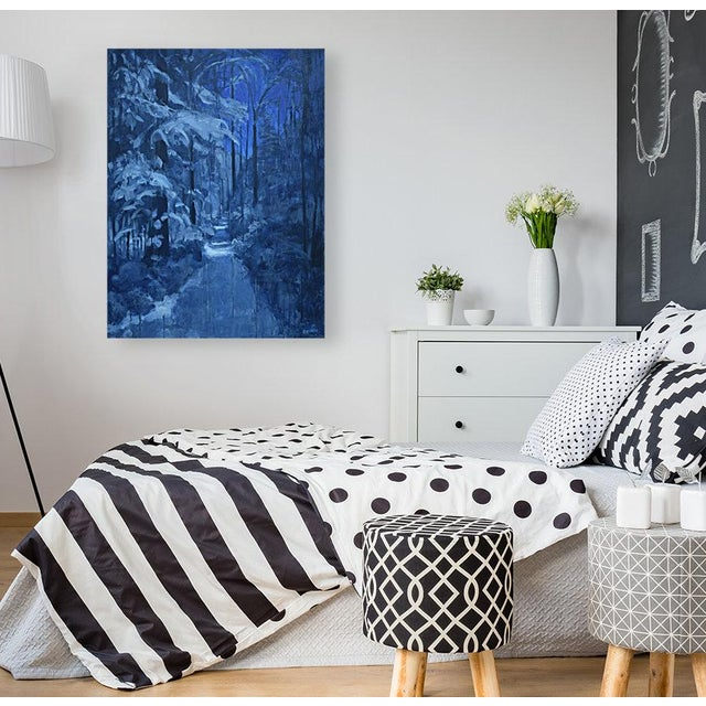 No need for a flashlight on this full moon, snow-covered night. Painted in 2019, this is professional grade acrylic paint...