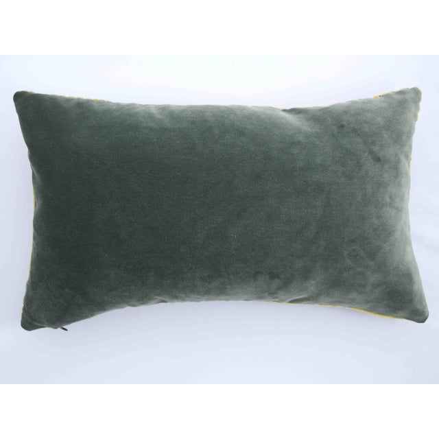2010s FirmaMenta Italian Geometric Green & Yellow Velvet Lumbar Pillow For Sale - Image 5 of 6
