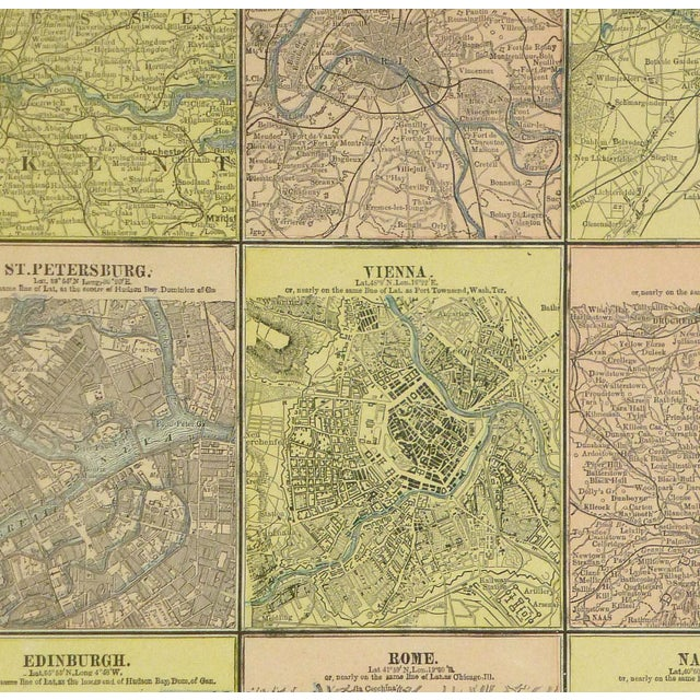 Antique map of Principal Cities of the Old World. Map shows London, Paris, Berlin, St. Petersburg, Vienna, Dublin,...