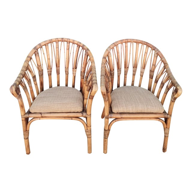 Vintage Coastal Regency Bamboo Side Chairs Wheat Upholstered Seats -A Pair For Sale