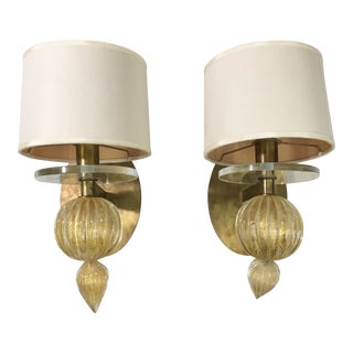 Baker Barbara Barry Murano Glass 24k Gold Bauble Wall Sconces - Pair For Sale