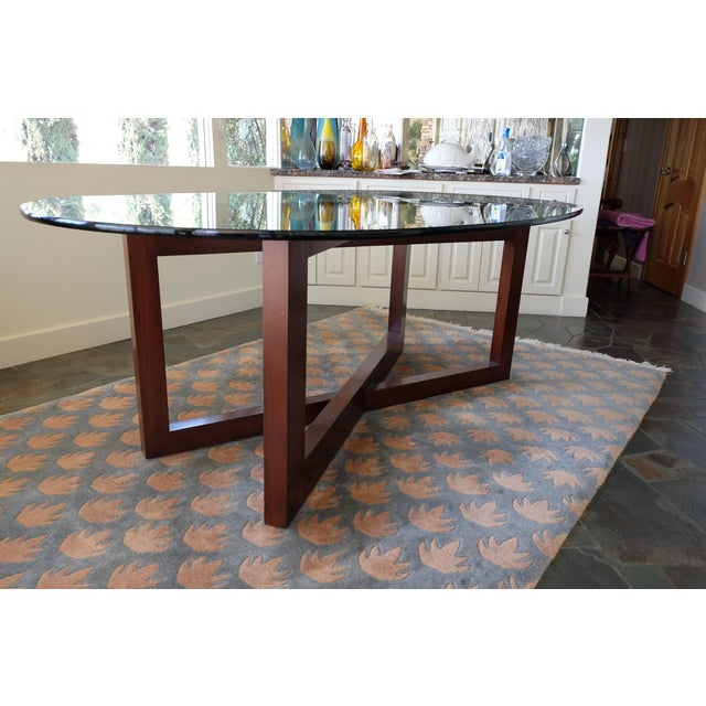 Contemporary Glass & Mahogany Dining Table - Image 5 of 7