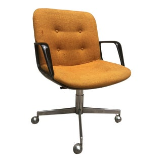 Mid Century Orange Upholstery Industrial Swivel Chair For Sale