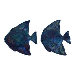 Modern Signed Wall Art Hanging Decorative Raku Fish Sculptures - a Pair