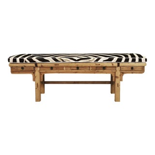 Calligrapher Five-Drawer Bench With Zebra Cushion
