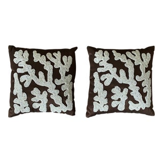 Beaded Coral Silk Designer Pillows- a Pair For Sale