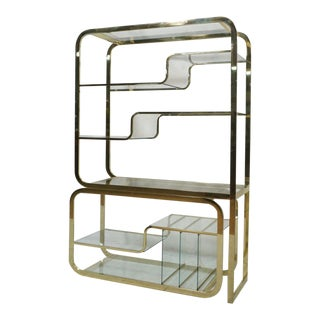 Brass Etagere in the Style of Milo Baughman For Sale