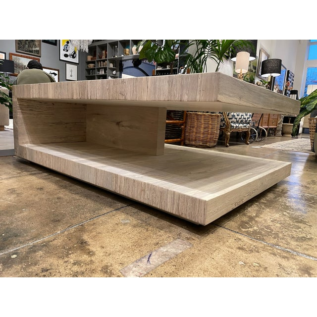 Modern Cantilever Oak Coffee Table For Sale - Image 3 of 7