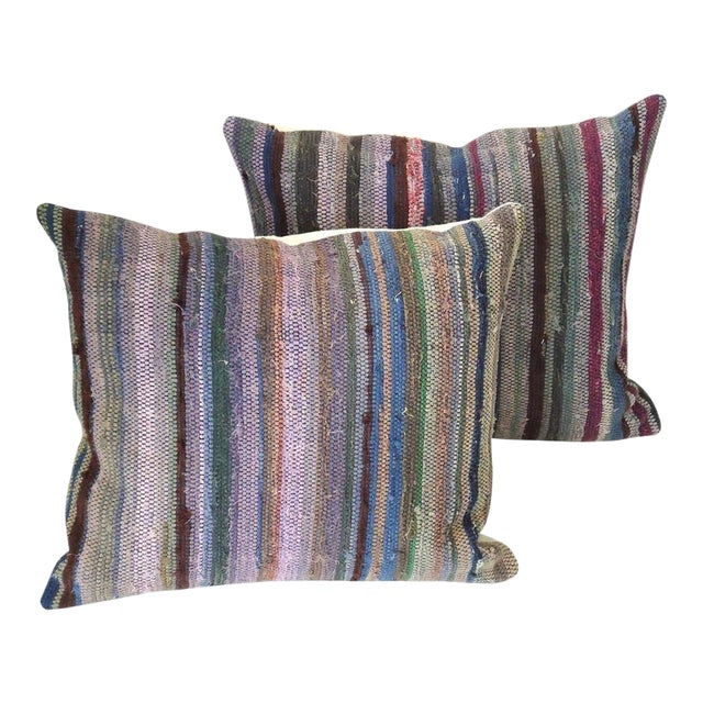 Amish Rag Rug Pillows with Linen Backing For Sale