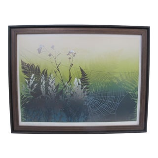 Elton Bennett Signed Serigraph on Paper the Web With Ferns For Sale