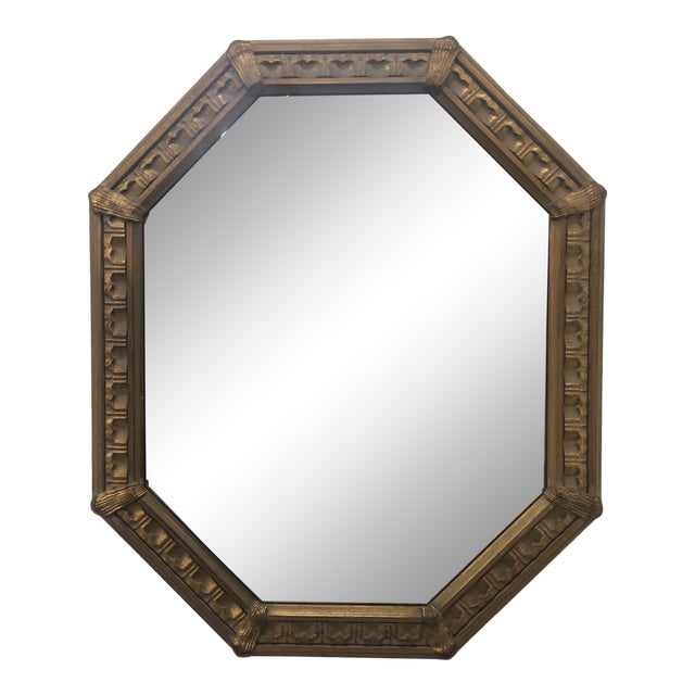 Carved Octagonal Wall Mirror For Sale