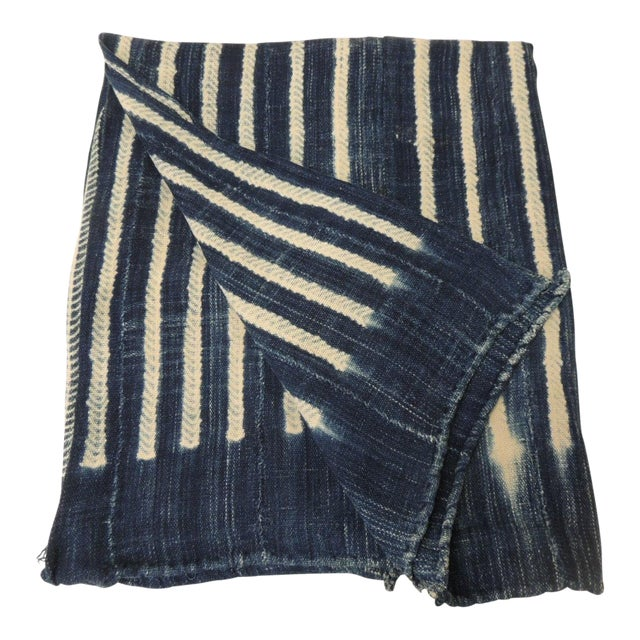 Vintage Blue and White Yoruba and Baule Warp Artisanal Cloth With Fringes For Sale