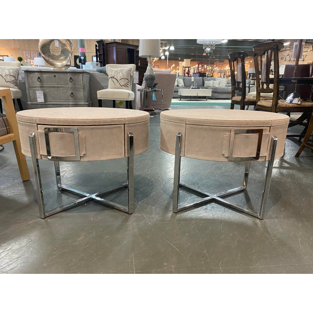 Pair of Custom Made Suede End Tables With Stainless Steel Frame For Sale - Image 10 of 10