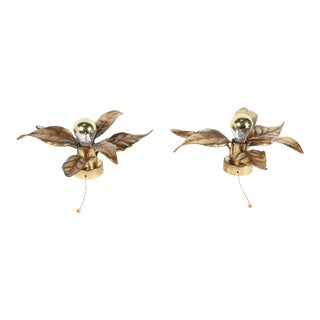 1970s Leaf Shaped Brass Wall Lights by Willy Daro for Massive - a Pair For Sale