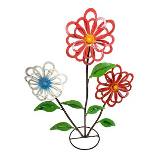 Mexican Recycled Metal Floral Garden Sculpture For Sale